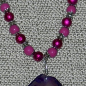 Purple Agate Pink Necklace A05445