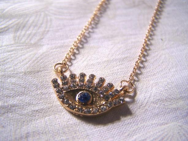Evil Eye Necklace Crystal Pave