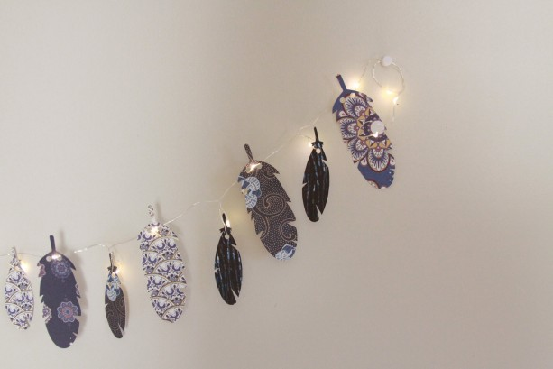 Feather Garland - Fairy Lights - Tribal Garland - Hens Party   - Boho Bedroom Decor -  Birthday Party Decor - Coachella 2017 - Bohemian