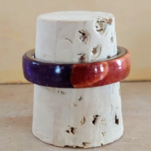 Dyed Box Elder Burl and Purple Resin Ring