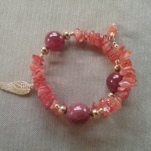 Unity in Trinity™ Gratitude Bracelet of Fire Agate, Agate, Gold Spacers, Charm