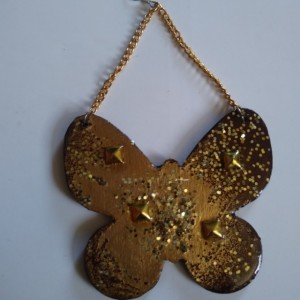 Brown n gold glittery butterfly earrings