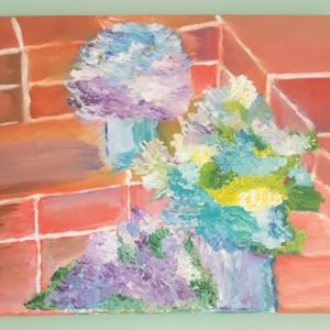 Oil Painting on Canvas- Original Artwork- Small Floral Art- Botanical-Purple Cream Blue Hydrangeas- Sarah Floyd