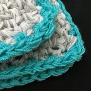Aqua Turquoise Baby Blanket Modern crochet gray and white