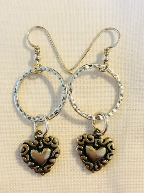 Sterling silver earrings with hoop and heart dangle