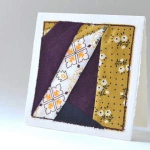 Improvised patchwork card -- handmade mini modern quilt block