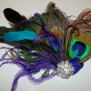 Wedding Peacock bridal fascinator, wedding hair clip, womens girls bridesmaids brides mother of groom, feather headpiece