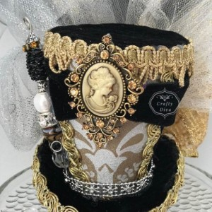 Cameo Mini Top Hat, Steampunk hat, Top hat, Victorian hat, Mad Hatter, Bachelorette, Fascinator, Headband
