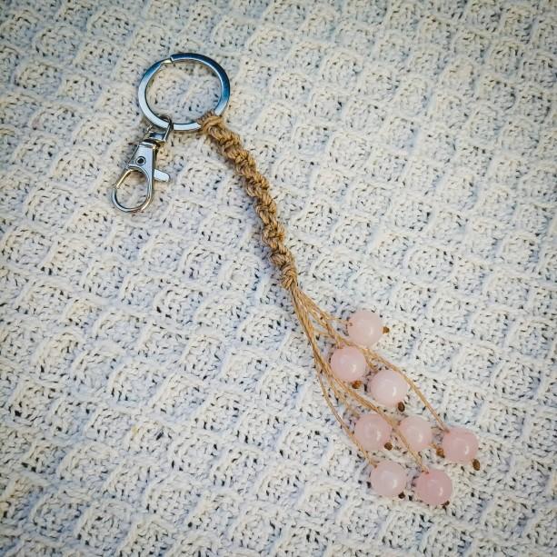 ROSE QUARTZ handmade keychain | best friend gift | boho keychain | crystal keychain | mother's day  | crystal gift | crystal
