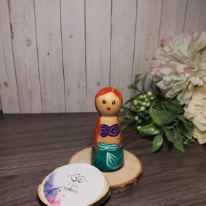 Ariel peg doll; disney princess inspired wooden peg doll; little mermaid peg doll