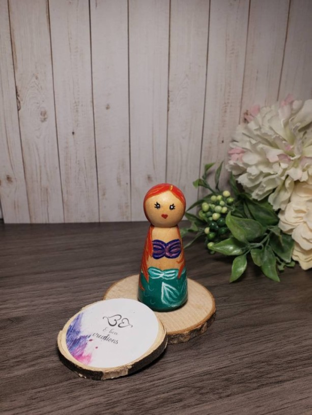 Ariel peg doll; disney princess inspired wooden peg doll; little mermaid peg doll