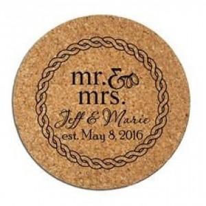 Custom Engraved Cork Coasters Set of (6) Personalized