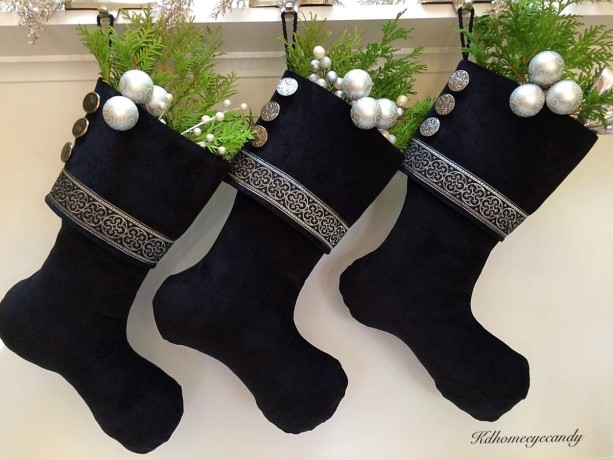 black christmas stocking black and silver stocking black stocking christmas stocking - Black Christmas Stocking