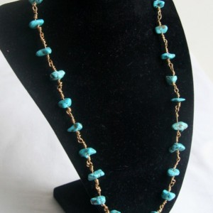 Handmade Natural Turquoise and Brass Link Necklace