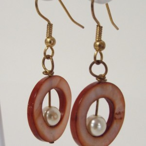 Brown Shell Open Circle with Pearl Inside Dangle Earrings