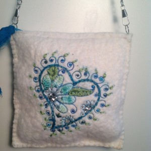 White wool purse