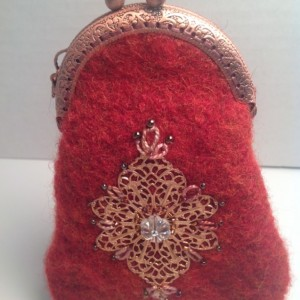 Red felted wool coin purse