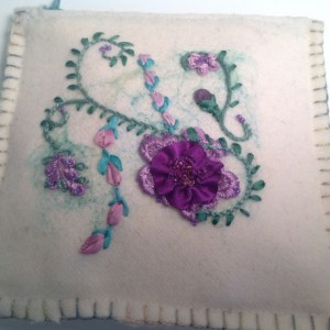 White wool lavender embroidery purse
