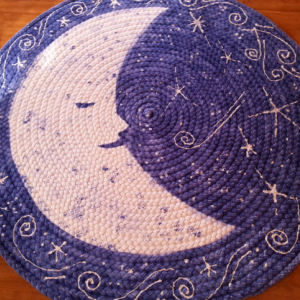 Moon and stars braided rug from USA organic cotton