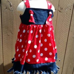 Country Girl Jean Dress Polka Dots