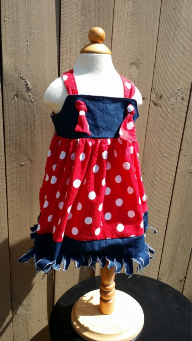 Country Girl Jean Dress Polka Dots