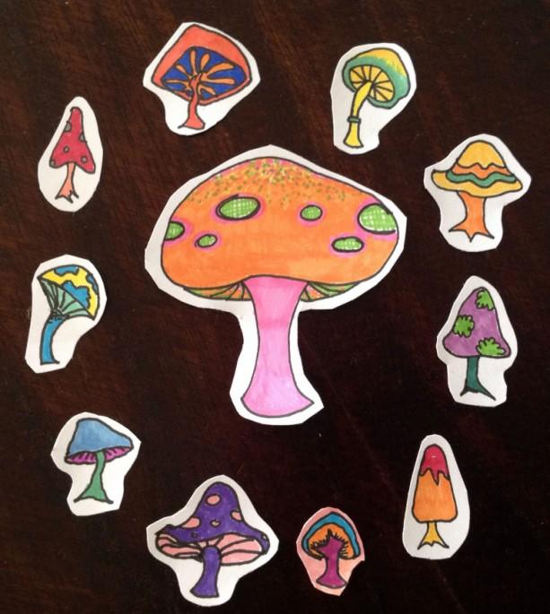Hand-drawn Sticker Set #003: Mushrooms / Flowers