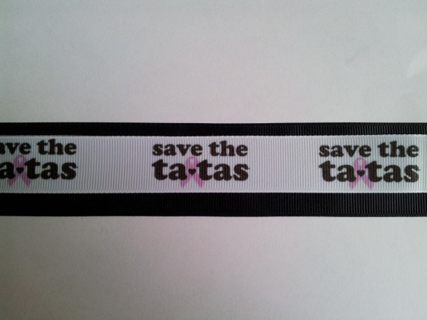 Save the Tatas Breast Cancer Awareness Gross Grain Ribbon