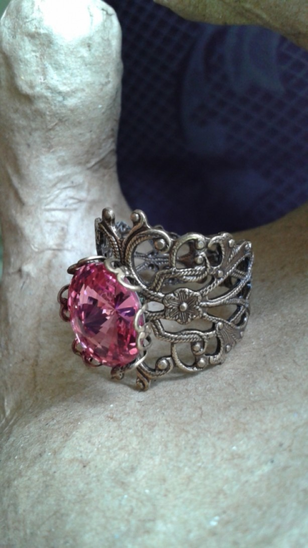Think Pink Crystal Filigree Ring *30% off* (Was $20)