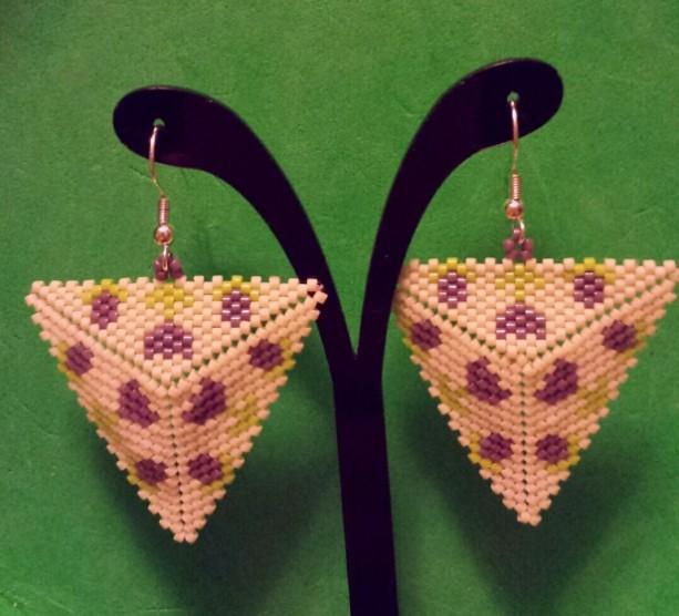 Tulip Peyote Triangle Earrings