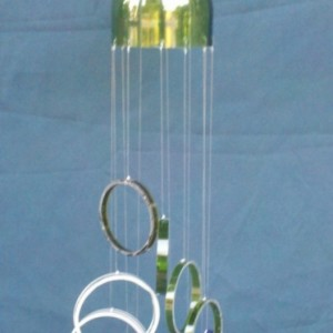 Multi-color glass wind chime handmade from wine bottles