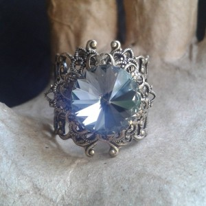 Black Diamond Swarovski Crystal Brass Filigree Ring *30% off* (Was $25)