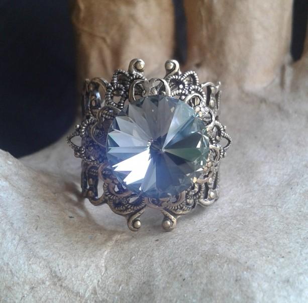 Black Diamond Swarovski Crystal Brass Filigree Ring *30% off* (Was $25)