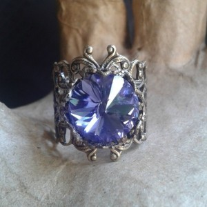 Tanzanite Crystal Brass  Floral Filigree Ring *30% off* (Was $20)