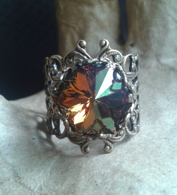 Crystal Copper Swarovski and Filigree Ring *30% off* (Was $25)