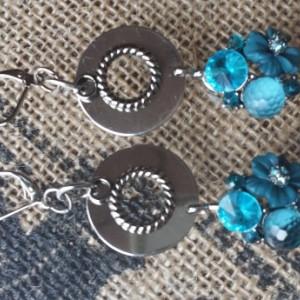 Teal Blue Dangle Earrings
