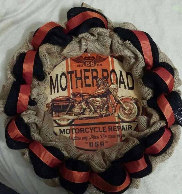 motorcycle wreath