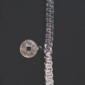 Chinese coin on hemp bracelet