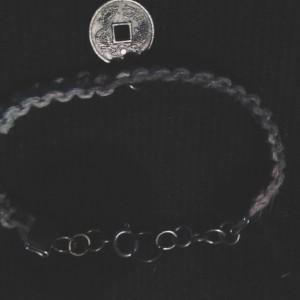 Chinese coin on hemp bracelet