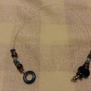 Brown and blue beaded bookmark