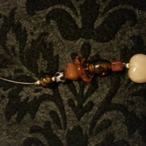 Glass and shell beaded wire bookmark
