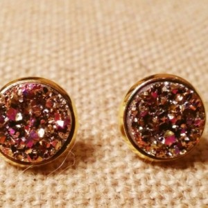 Magenta gold and silver faux druzy gold tone stud earring set
