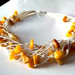 Baltic Amber , Linen Cord Necklace .Rustic Necklace .