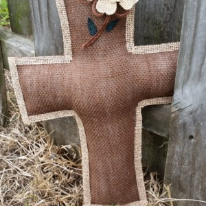 Large burlap cross with flower