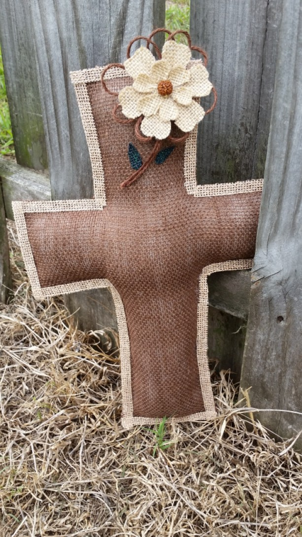 Large burlap cross with flower