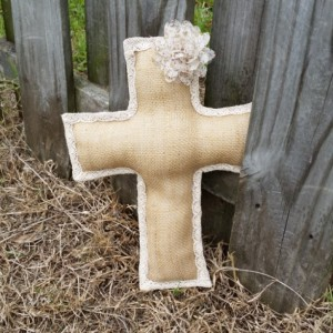 Large Natural Burlap Cross with Mesh Flower
