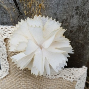 Natural Color Burlap Cross with Ivory Mesh Flower
