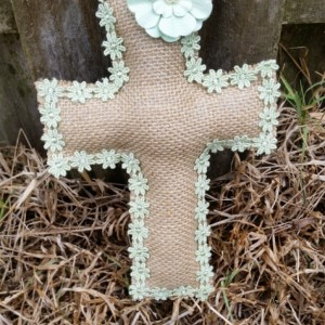 Burlap Cross with Flower Trim