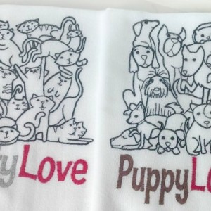 Kitty Love - Black Work Embroidered Cotton Dish Towel with or without words - Genuine Flour Sack Towels