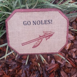 Noles Fan Burlap Wood Plaque