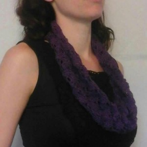 Lacey Lattice Cowl in Wild Berry Purple